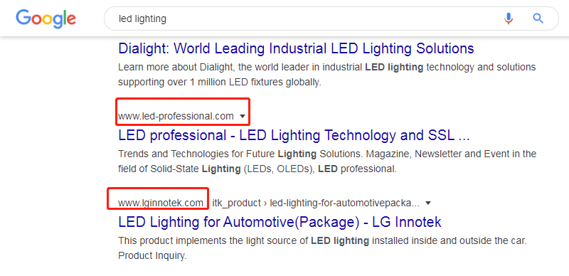 谷歌排名搜索展示
